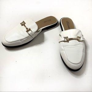 Breckelles White & Gold Loafer Slides
